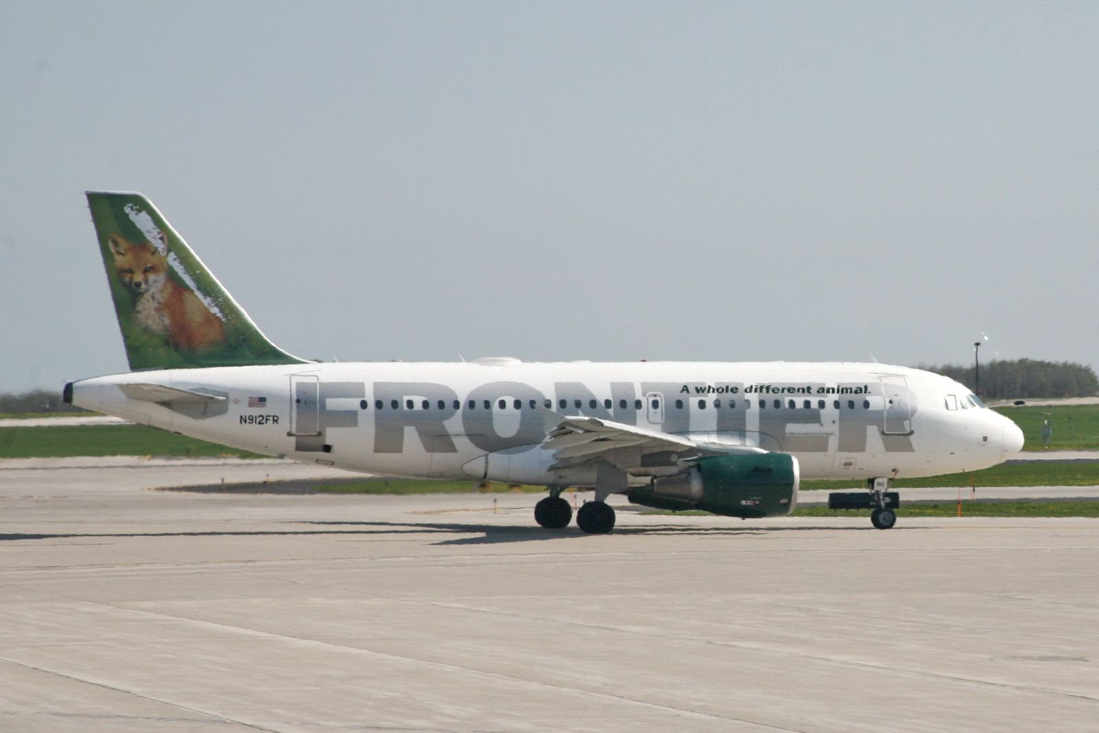 Frontier Airlines plane on the tarmac