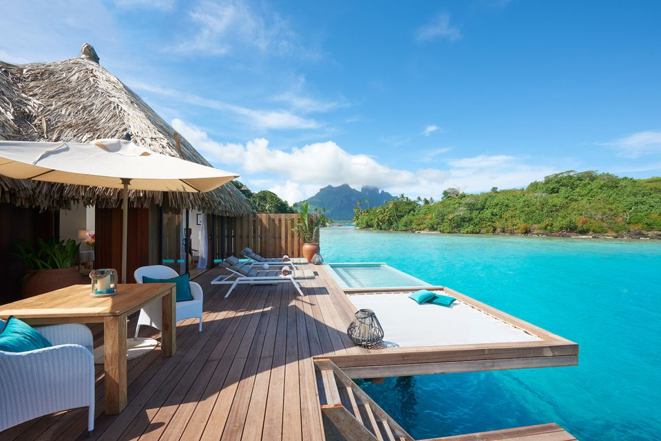 Deck area of overwater bungalow