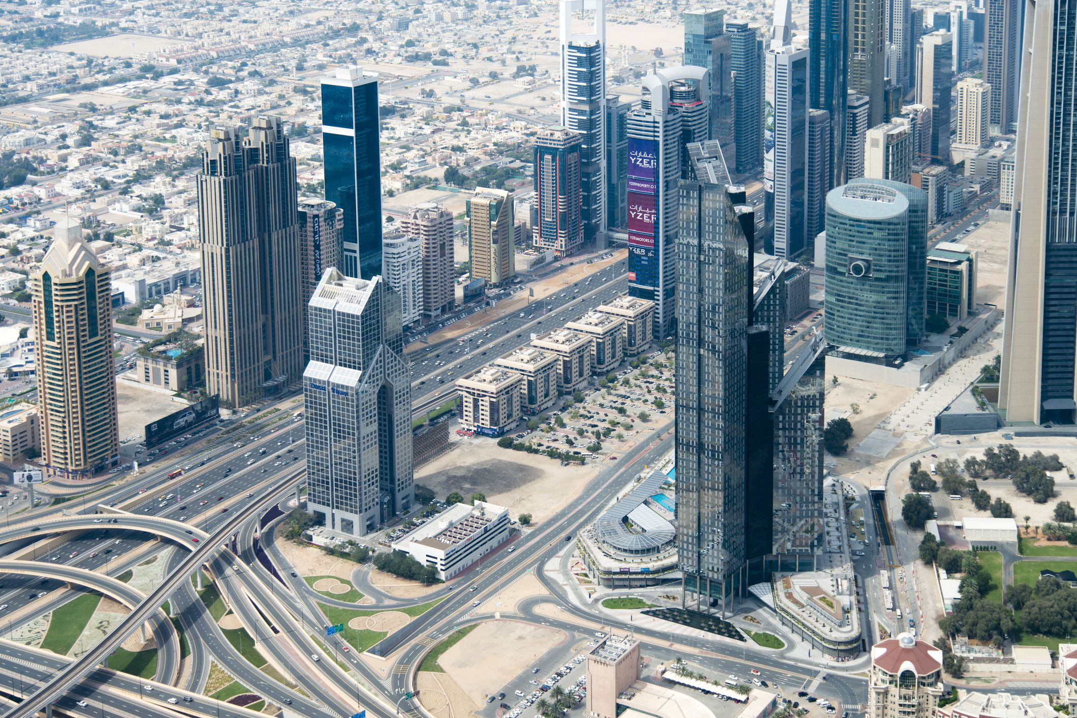 View of downtown Dubai, UAE from helicopter
