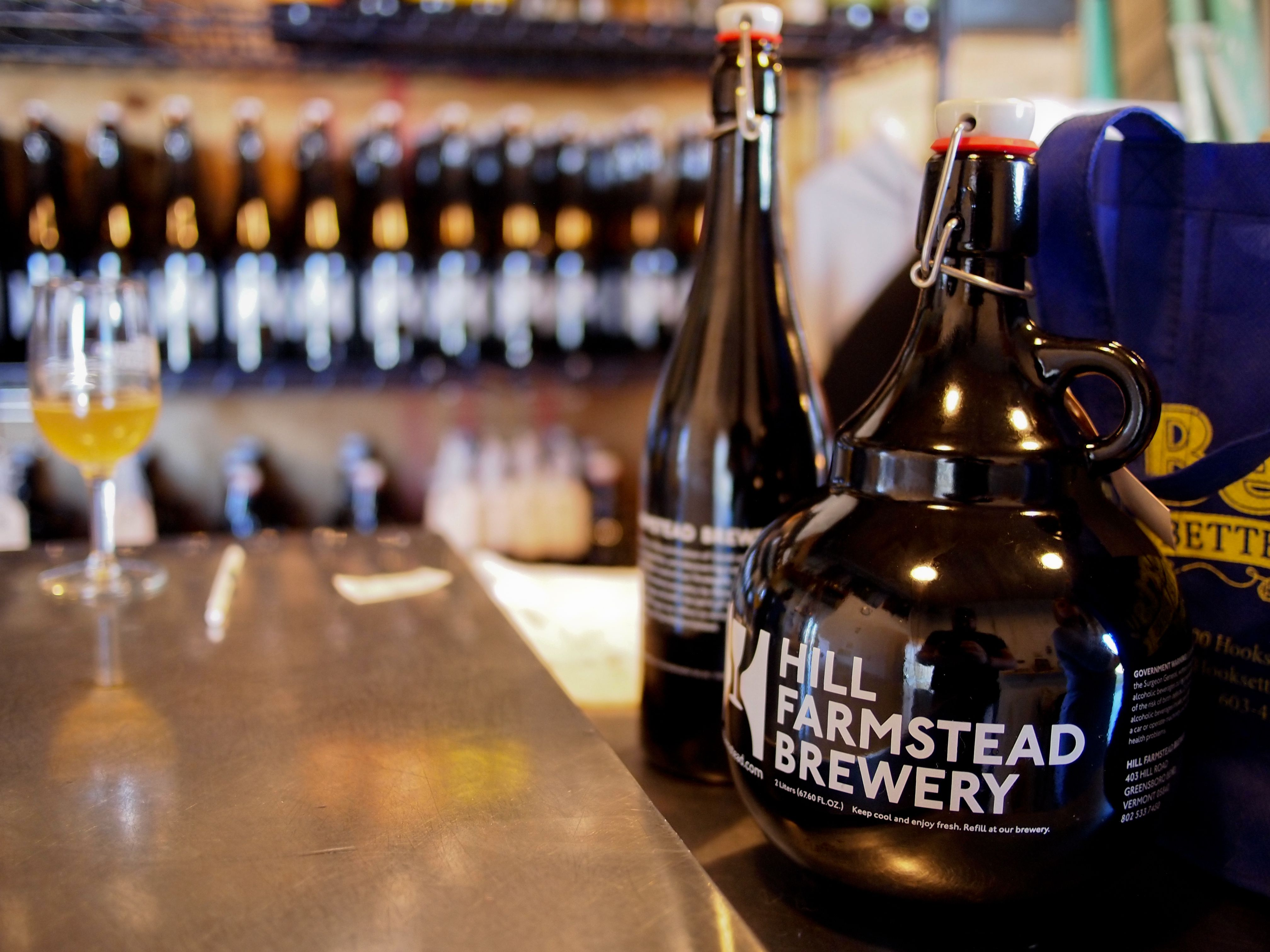 Growler with Hill Farmstead Brewery printed on it