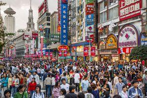 Crowd of people on Nanjing Road, Shanghai, China
