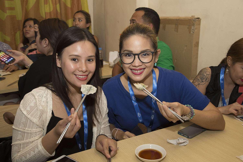 Diners enjoying Dong Bei's jiao zi