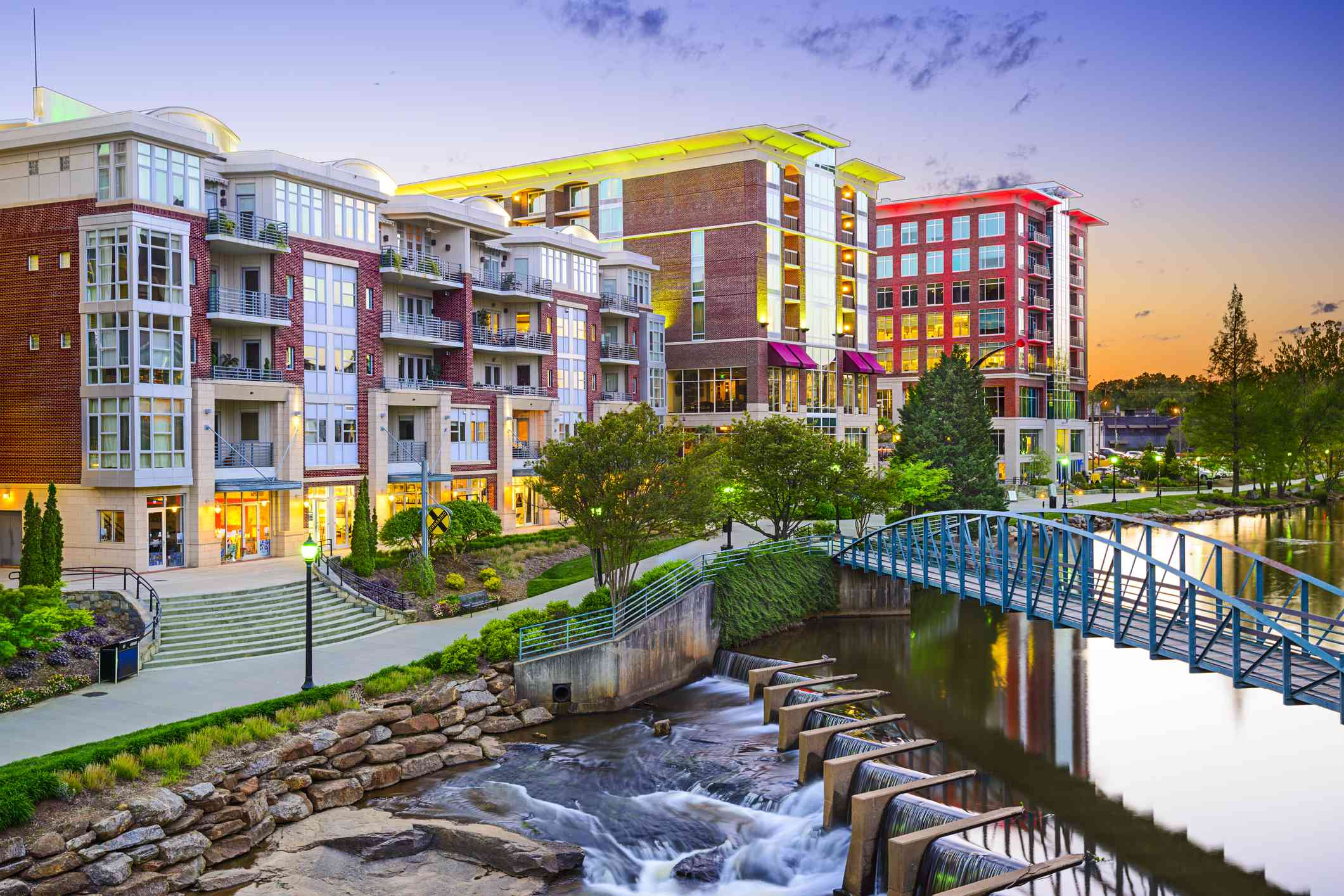 buildings and a stream in downtown Greenville, South Carolina