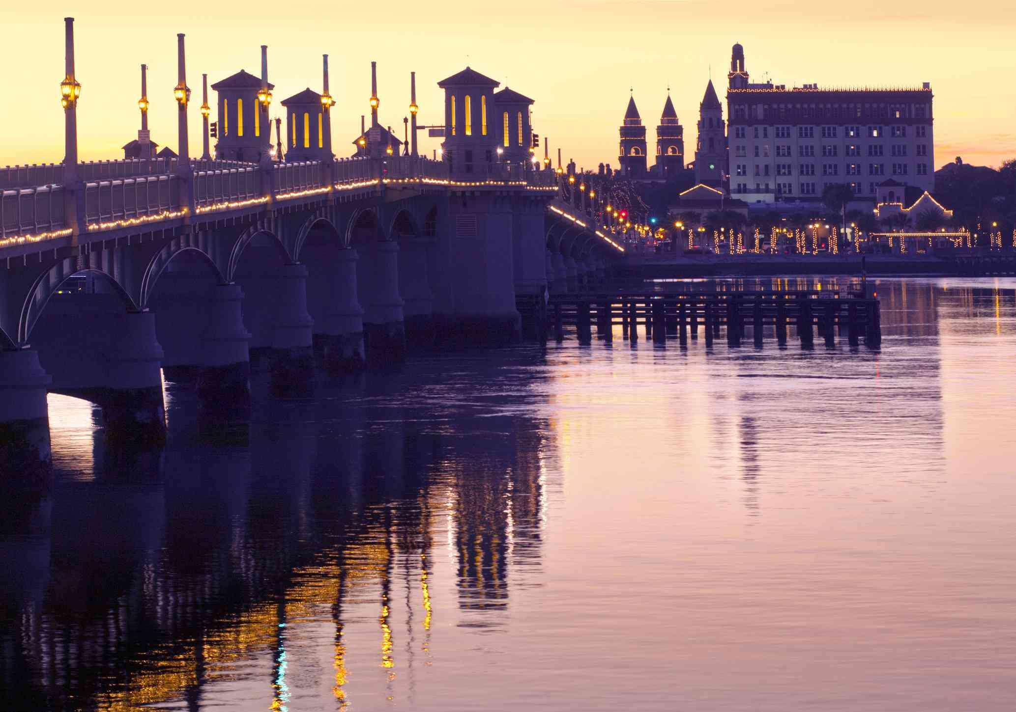 The Bridge of Lions illuminated tower piers