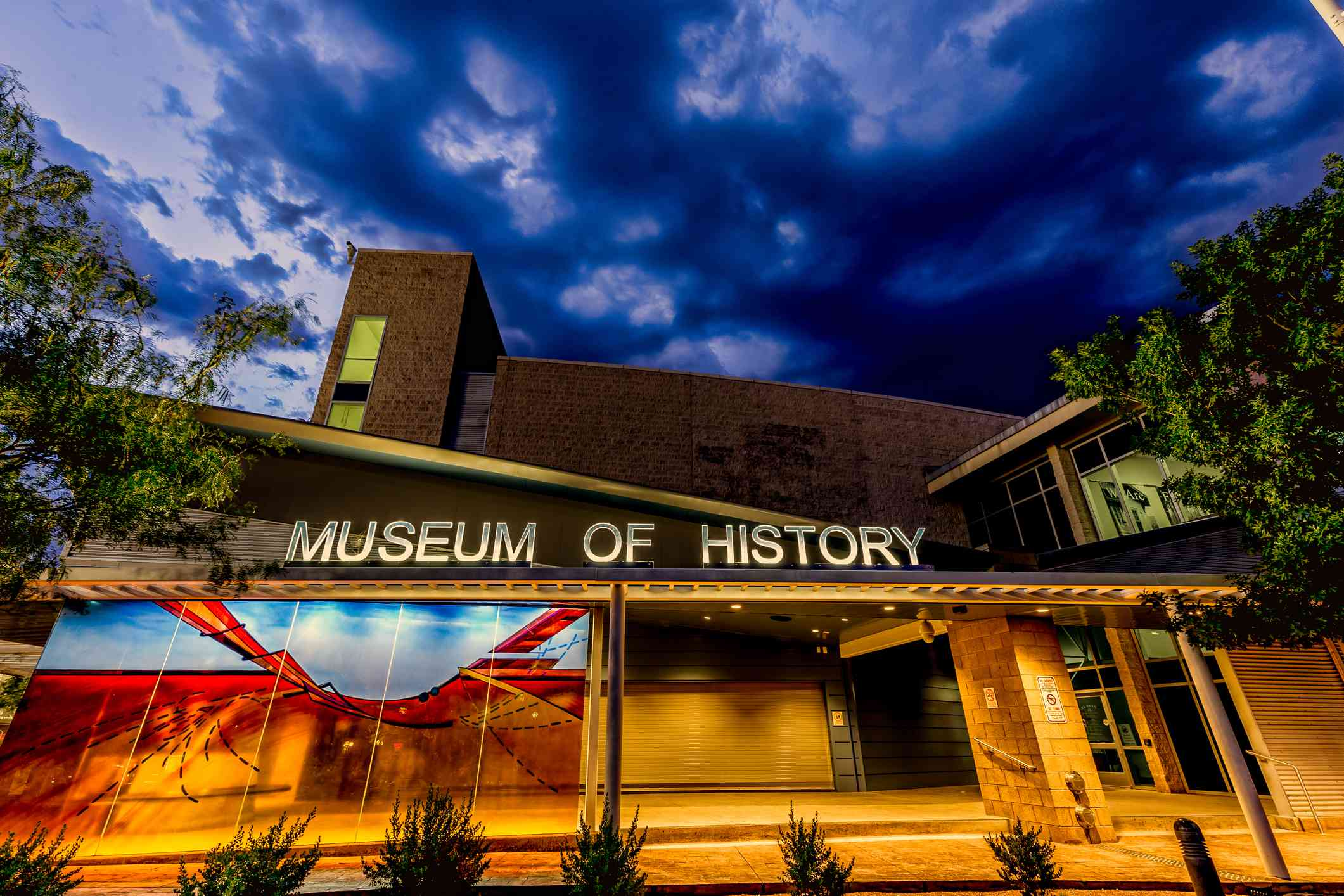 Storm clouds appear behind the El Paso Museum of History