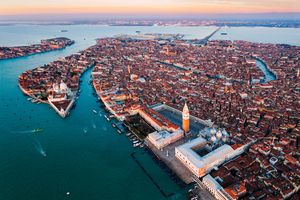 Aerial view of Venice at sunset, Italy