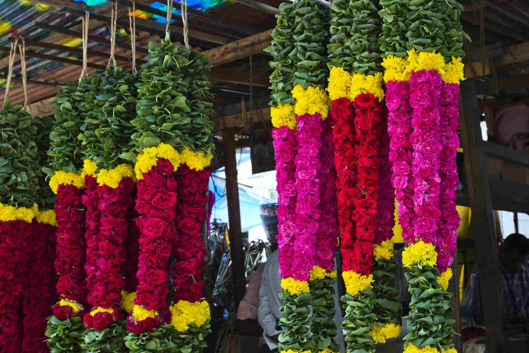 Chennai market, flower seller.