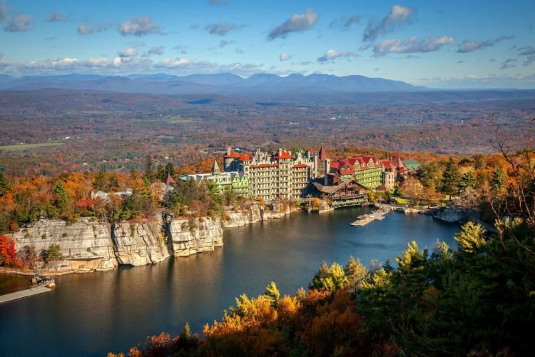 aerial view of Mohonk Mountain House in the fall