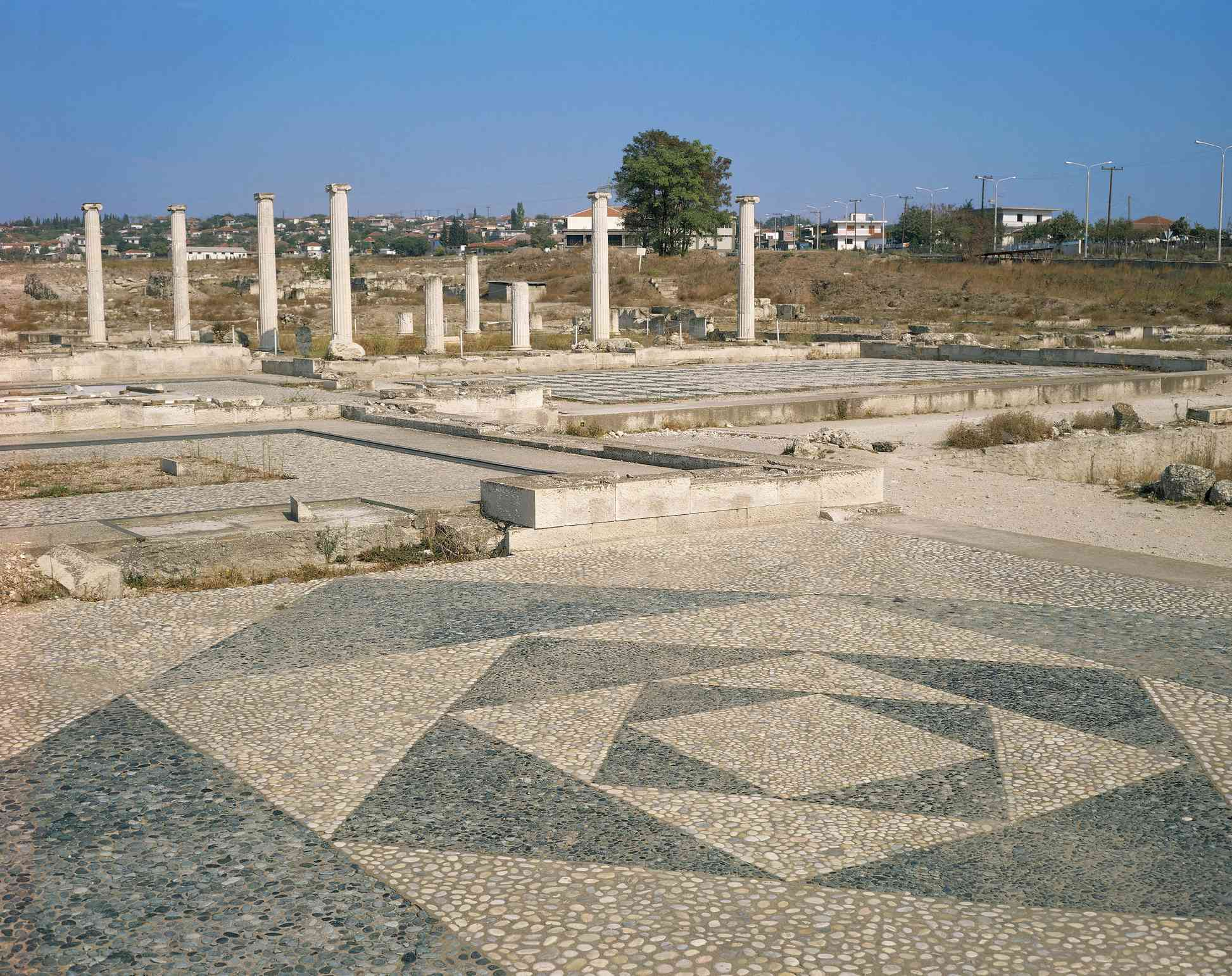Greece, Pella, house with mosaic floor decorated with geometric motifs at ancient capital of Macedonia