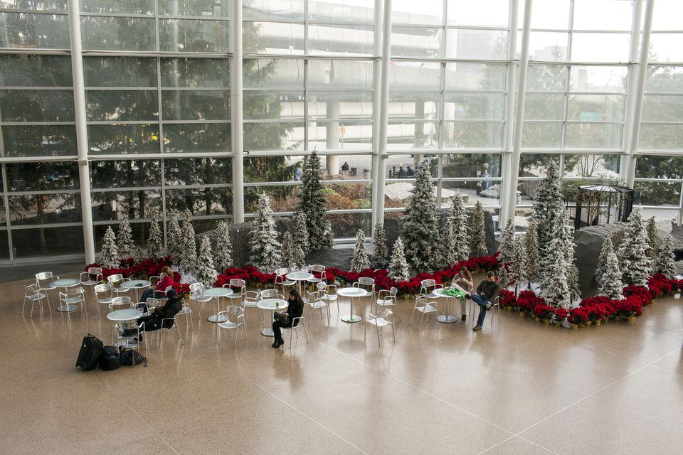 Seattle-Tacoma International Airport during Christmas.
