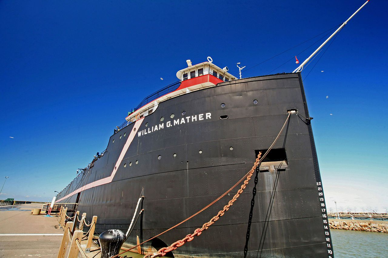 The bow of the Steamship William G. Mather on a (rare) cloudless day in Cleveland, Ohio.
