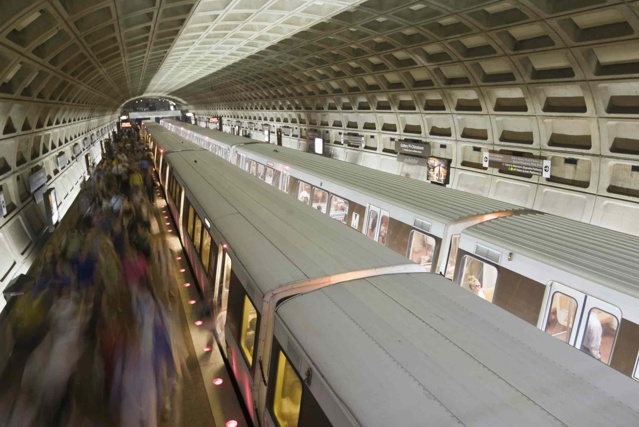 Long exposure of passengers on the Metro, Washington D.C.