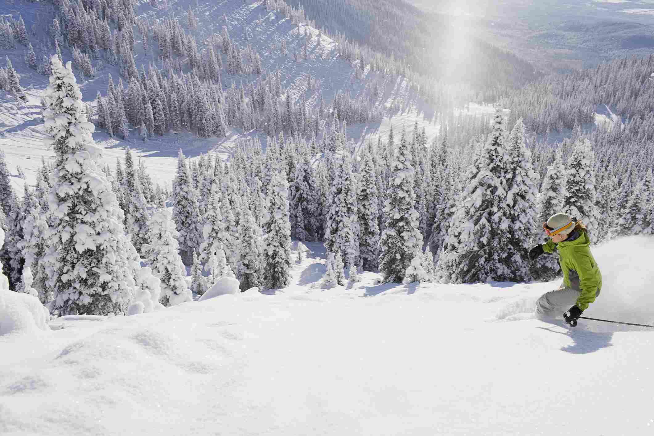Montana, Whitefish, skier on slope