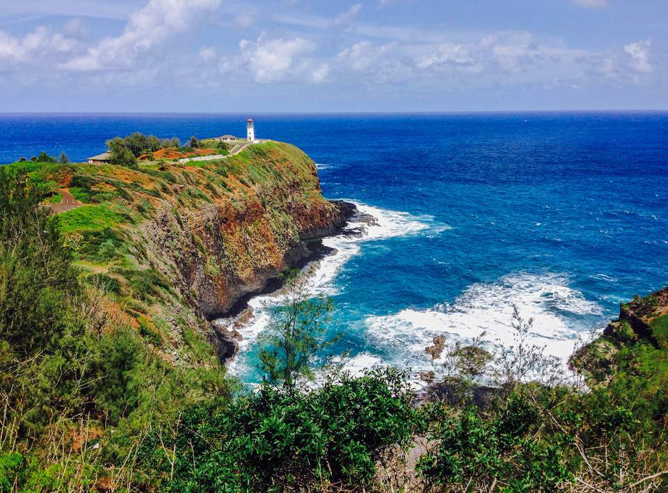 Blue Ocean Water And Lush Vegetation Surround Kilauea Lighthouse Located On The North S Of