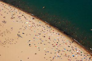 Aerial view of Oak Street beach in Chicago.
