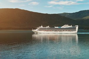 Cruise ship in Alaskan landscape