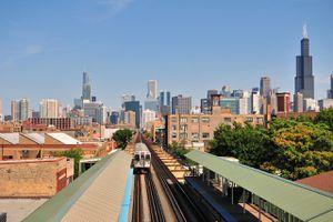A CTA Pink Line rapid transit train