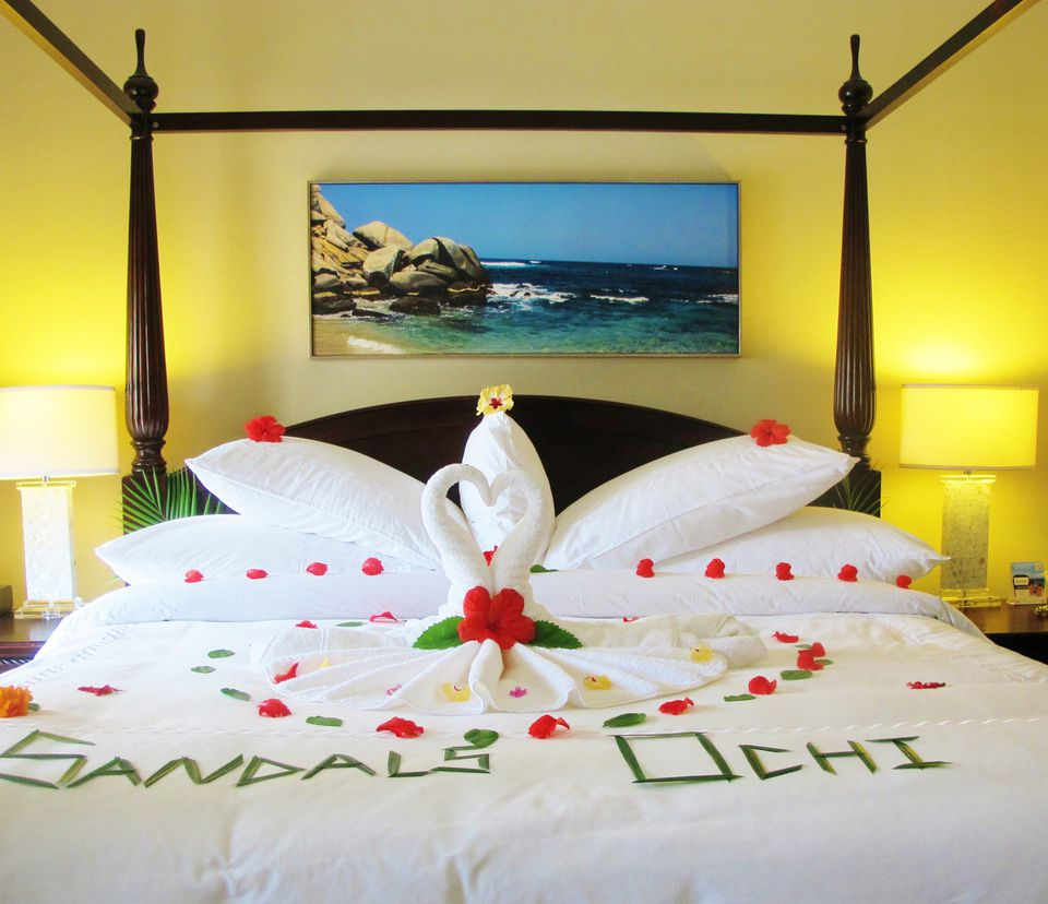 bed decorated for lovers