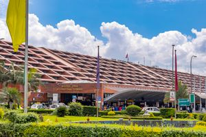 The outside of Kathmandu Airport on a sunny day