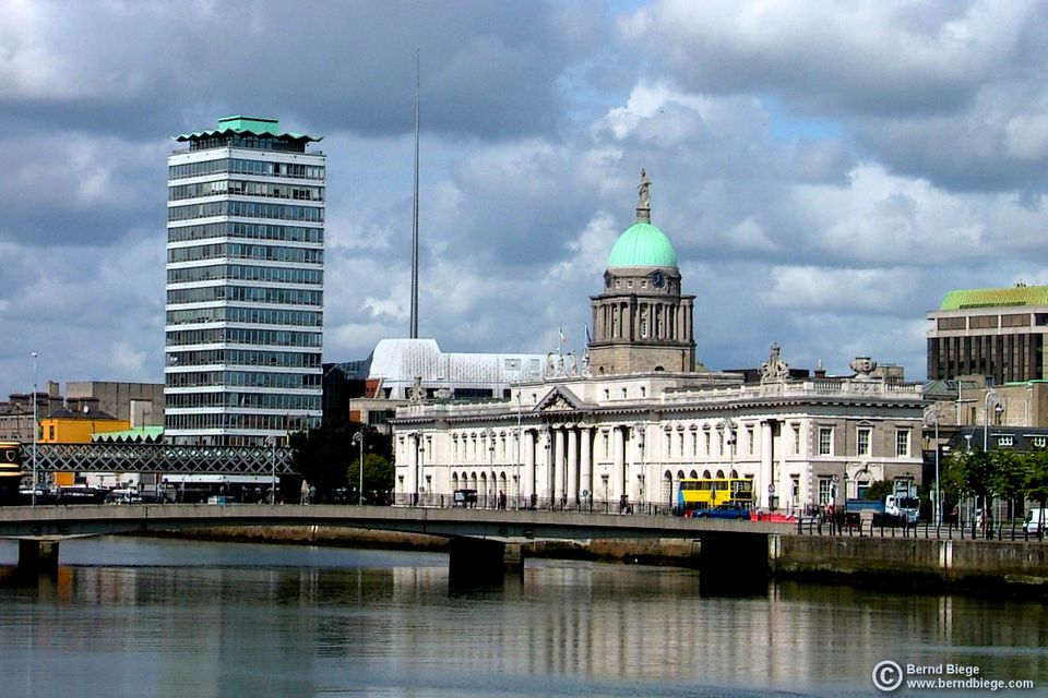 Looking at Dublin across the Liffey - with Liberty Hall, the Spire, and the Custom House