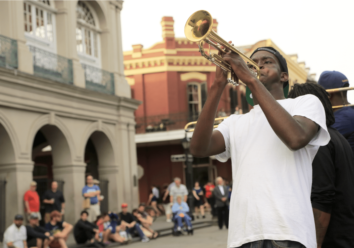 A musician plays the trumpet in New Orleans
