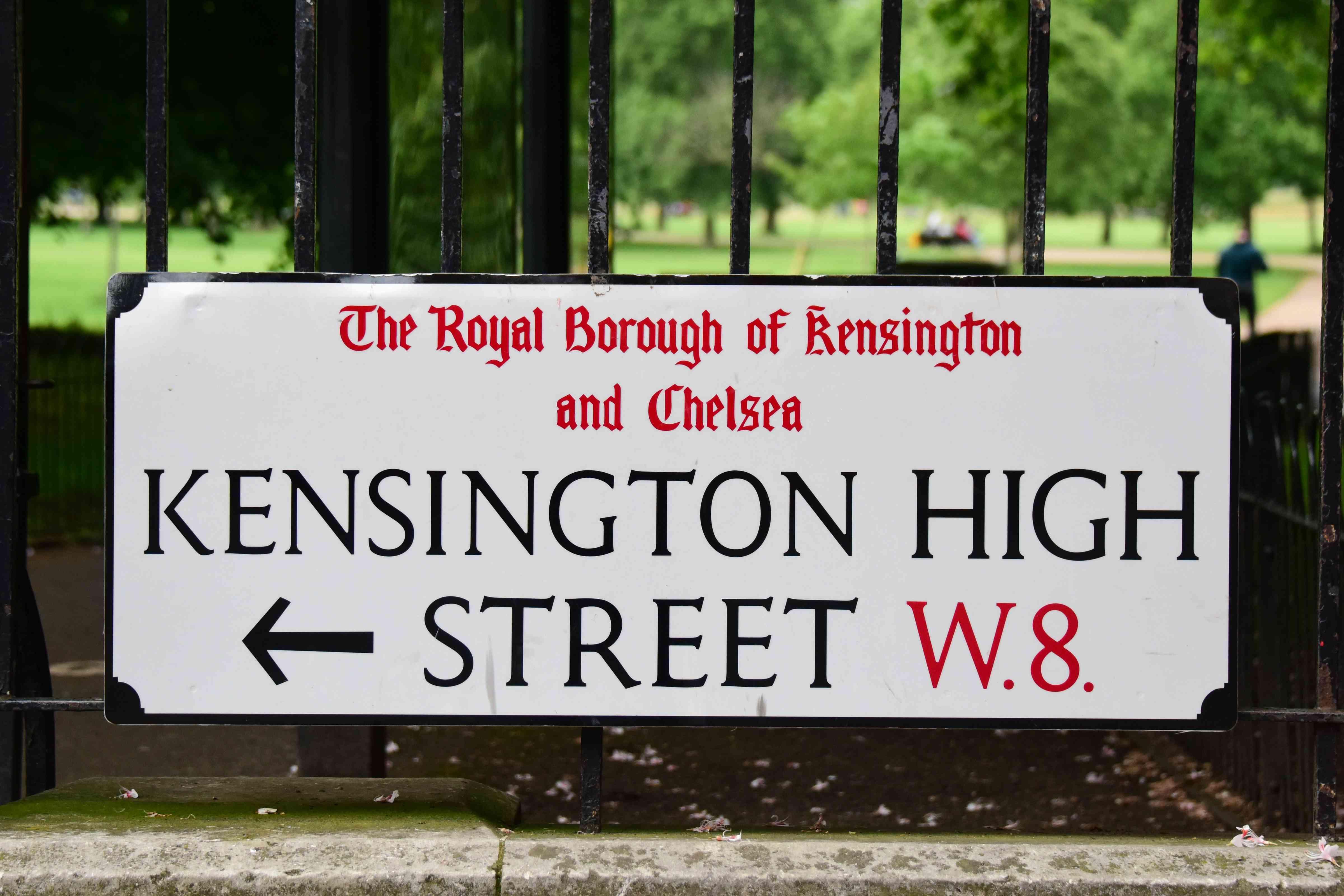 Kensington High Street sign