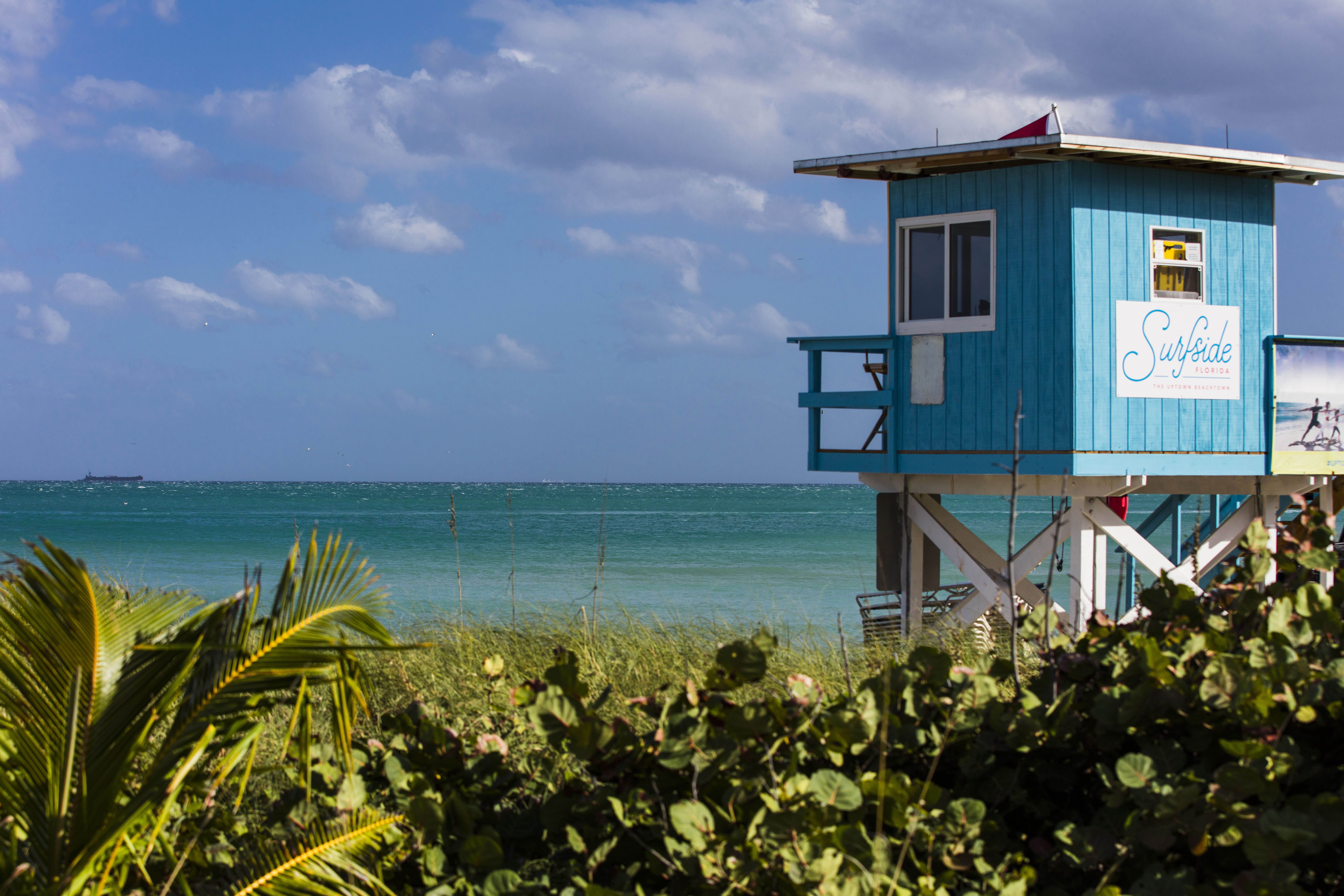 Lifeguard stand at Surfside beach in Miami