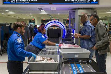 TSA Checkpoint At Miami Airport