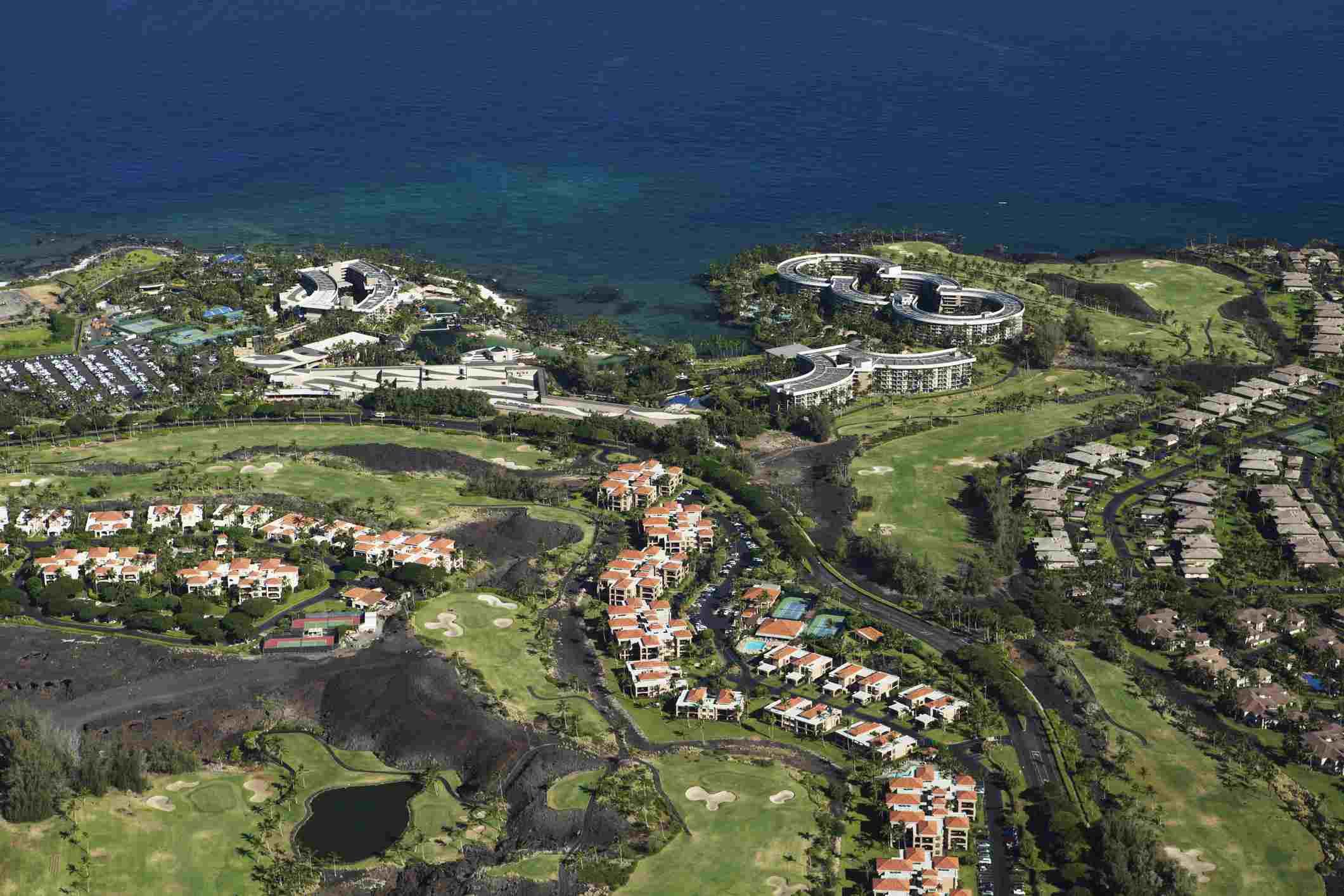 Aerial view of Hilton Waikoloa Village, Kingsland, Kings golf course; Waikoloa, Island of Hawaii, Hawaii, United States of America