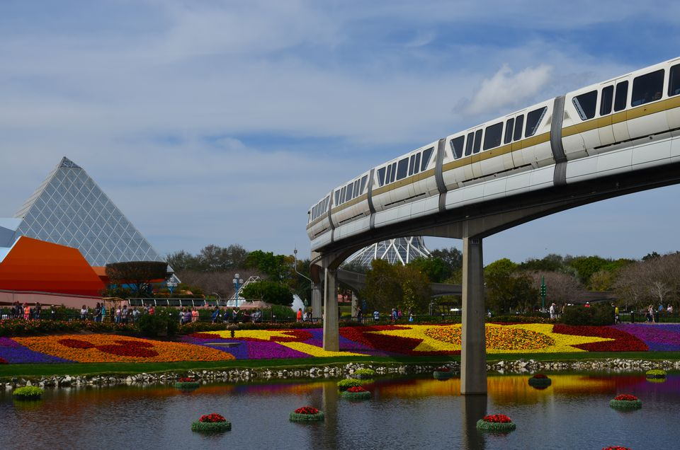 Monorail running through Epcot, Disney World
