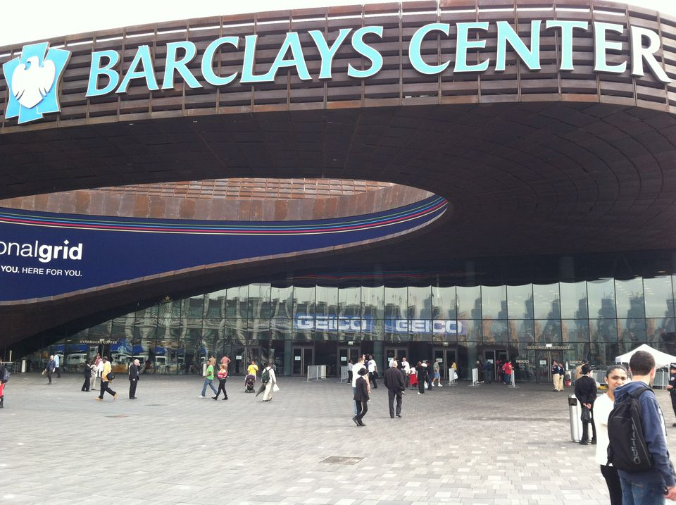 The exterior main entrance at the Barclays Center in Brooklyn