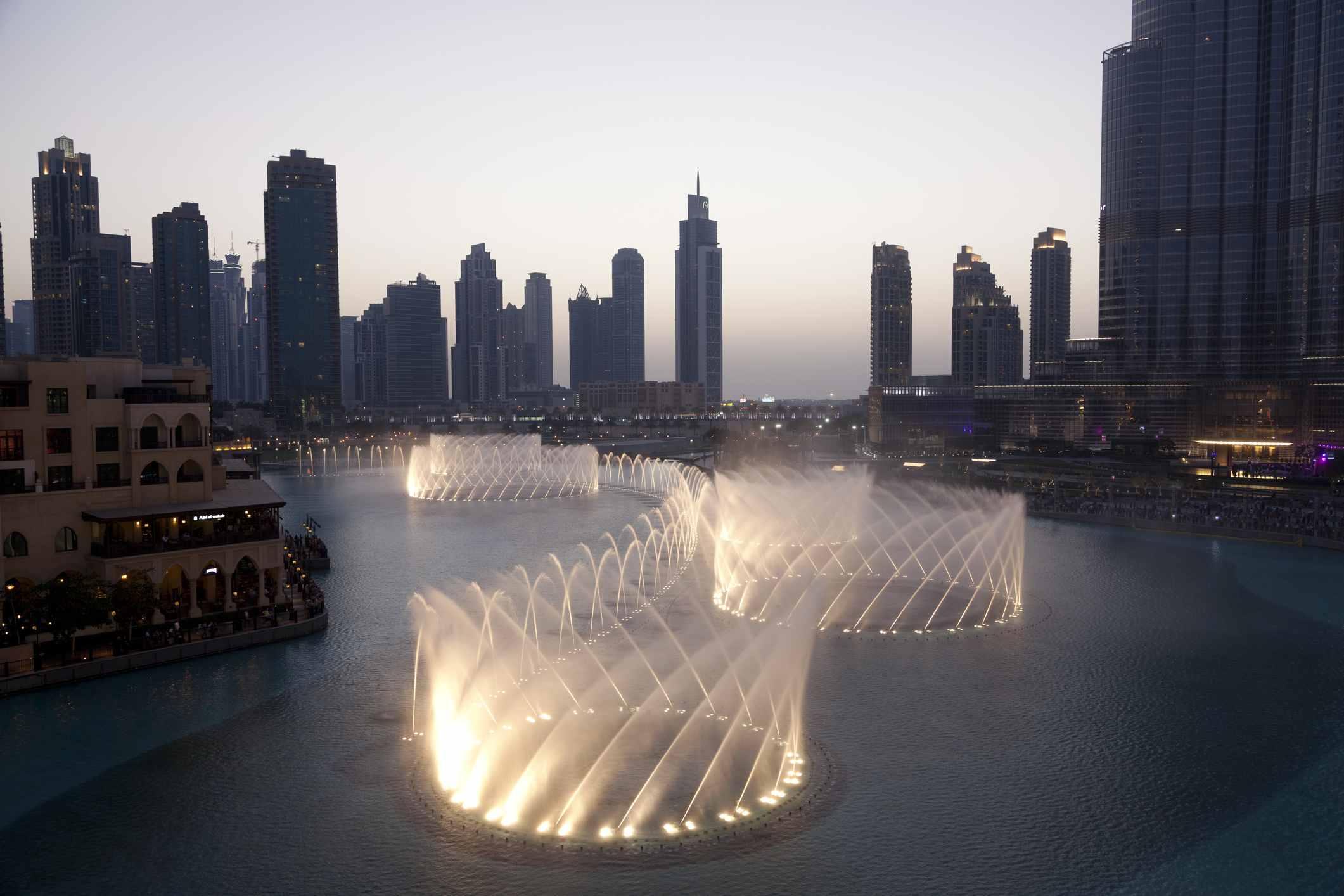 Burj Khalifa Lake, fountain and city skyline