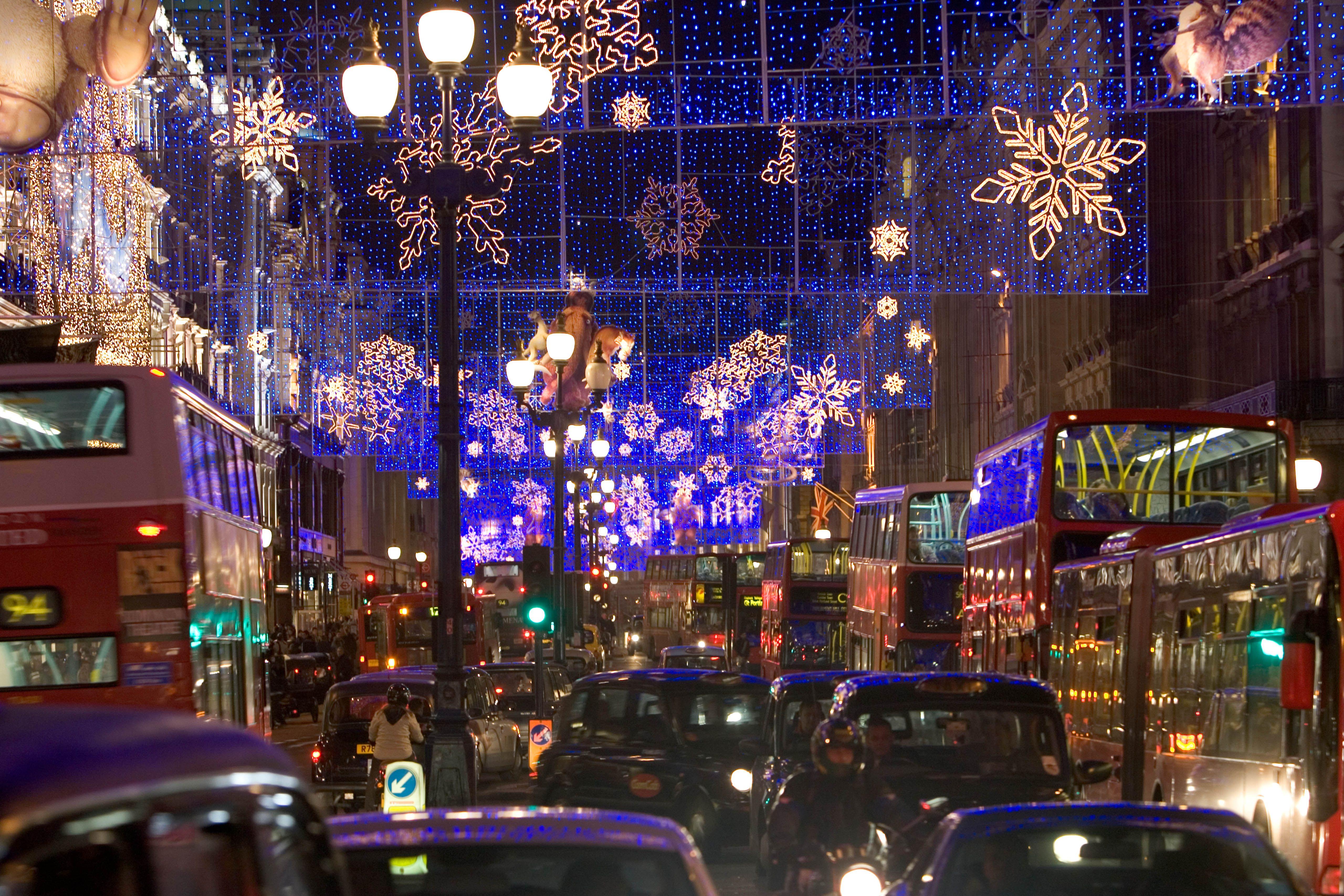 Christmas lights in London, England