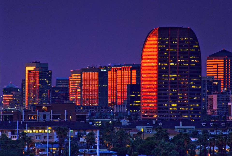 Skyscrapers at sunset in Phoenix, Arizona