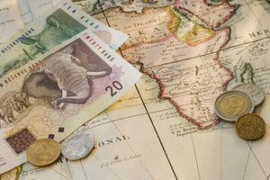South African Currency on a map of Africa