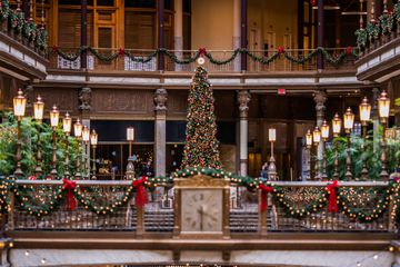 Christmas decorations adorn the Cleveland Arcade area