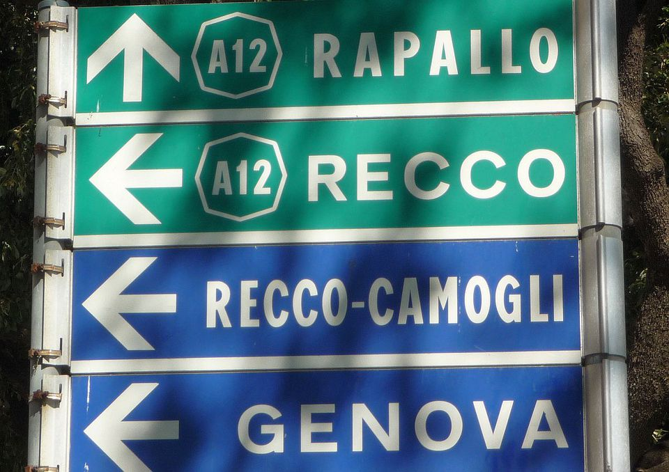 Sign for the A12 Autostrada
