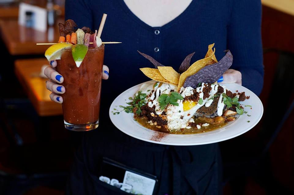 food and bloody mary at sunny point cafe