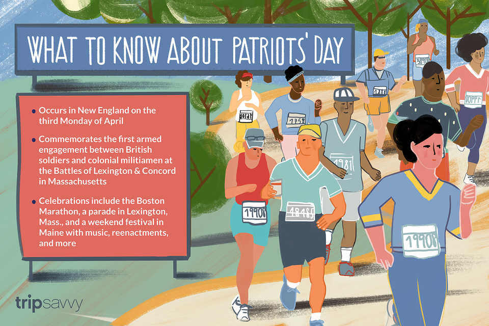 illustration of runners at the Boston Marathon for Patriots' Day