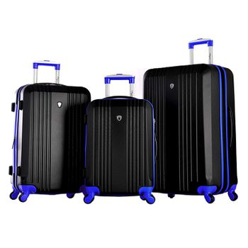 Black and blue Olympia luggage three piece set on white background cc1ace500748a