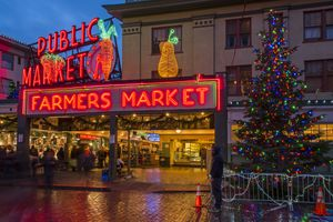 Pike Place market at night during Christmas