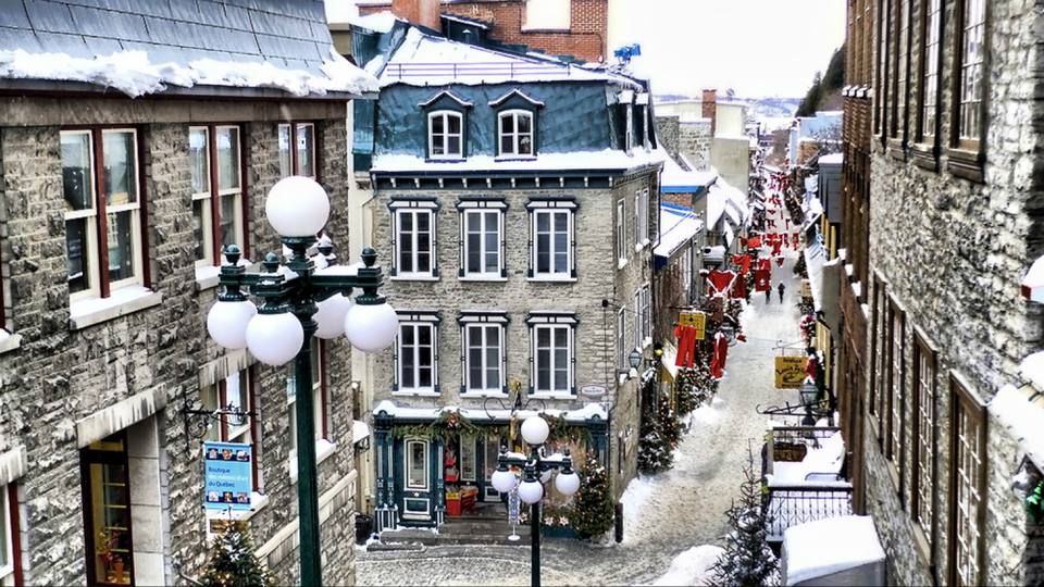 Rue Petit Champlain on a snowy winter day, Quebec City, Quebec