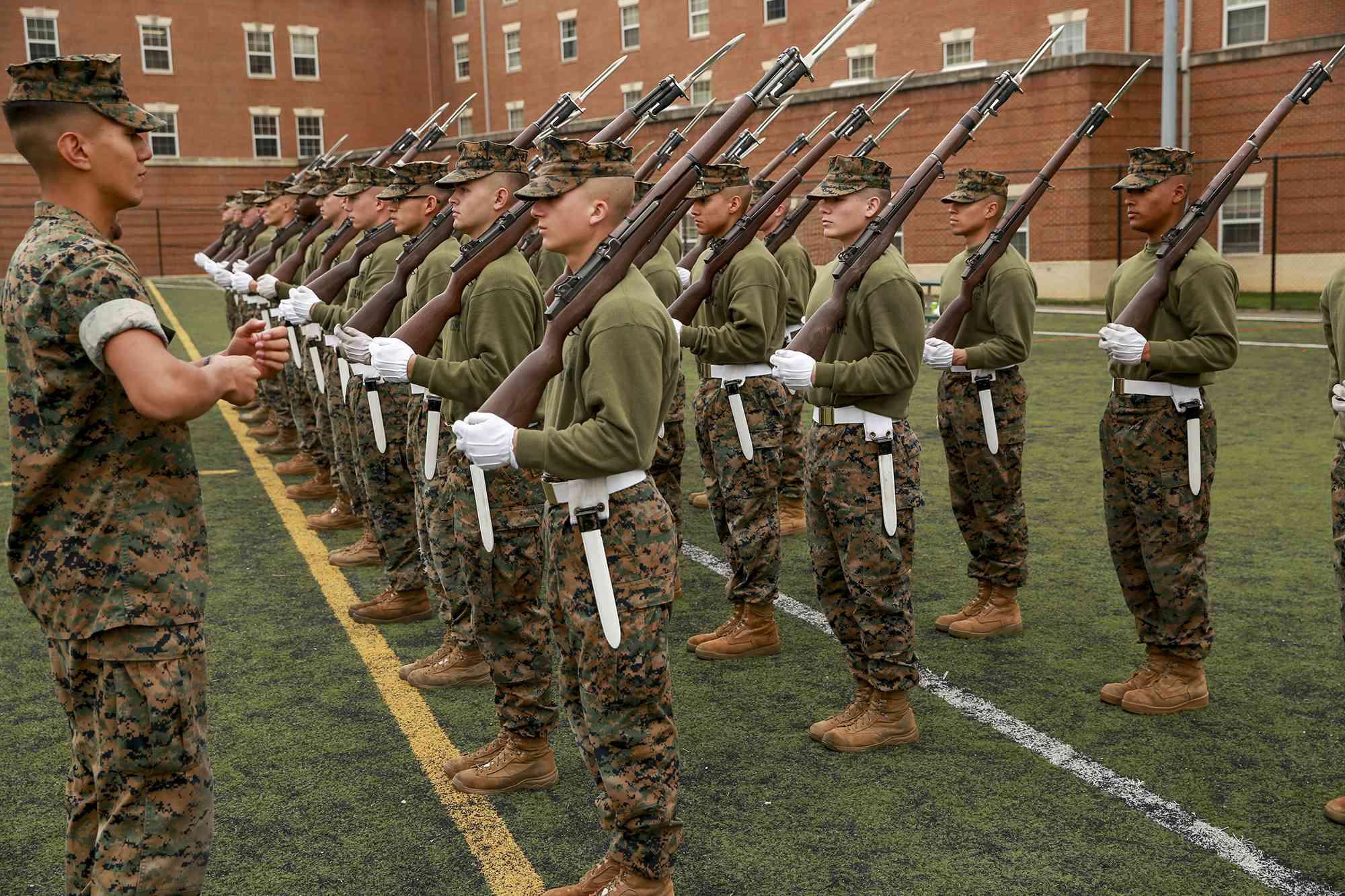 Practice rifle manual at Marine Barracks Washington, D.C.