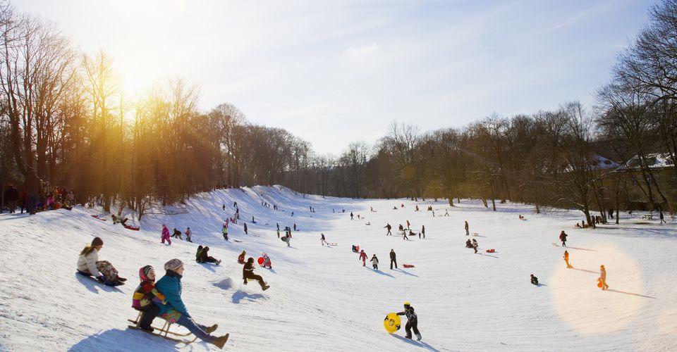 Children sledding down a snowy hill.