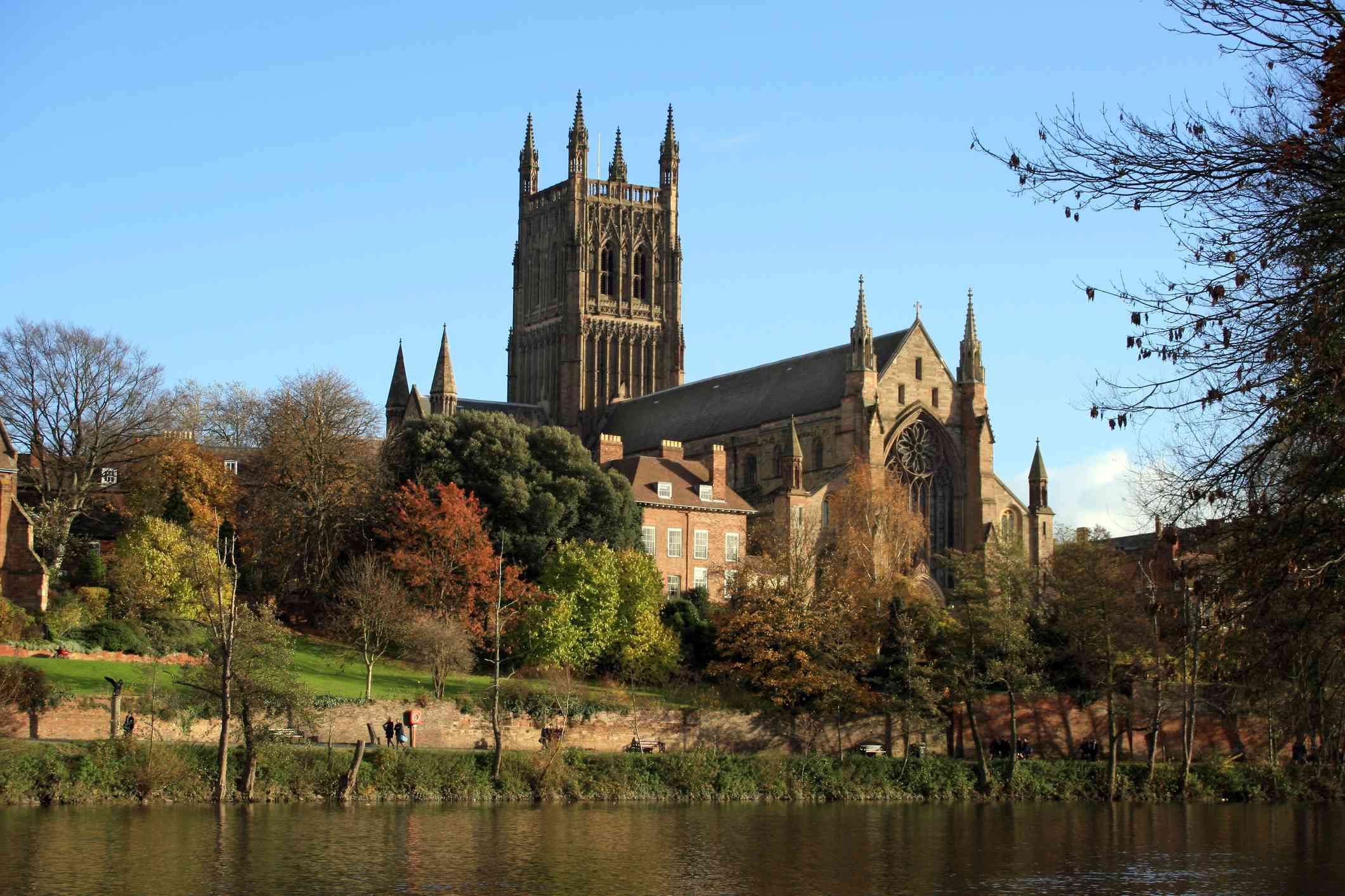 Worcester Cathedral and grounds as seen from across the pond