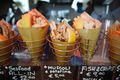 Paper cones of fried seafood - fritti misti - in Monterosso