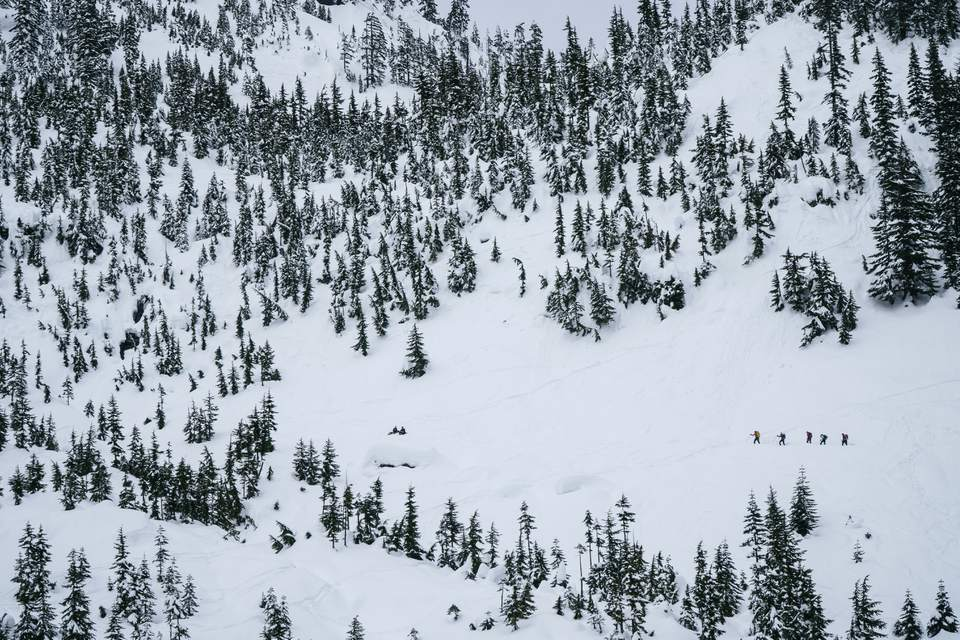 People cross country skiing across the Cascade Mountains