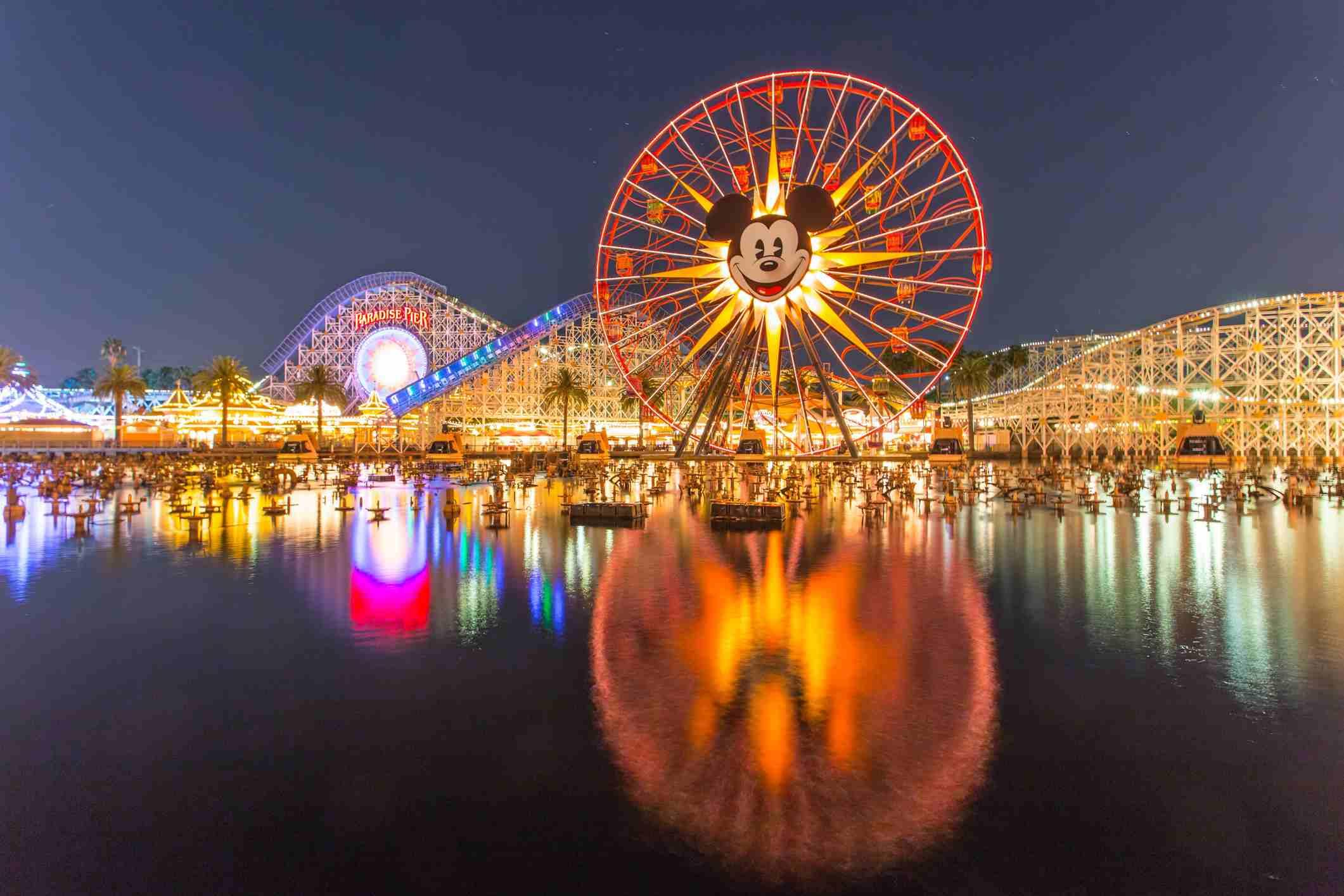 Disneyland 60th aniversary at Cars Land night time
