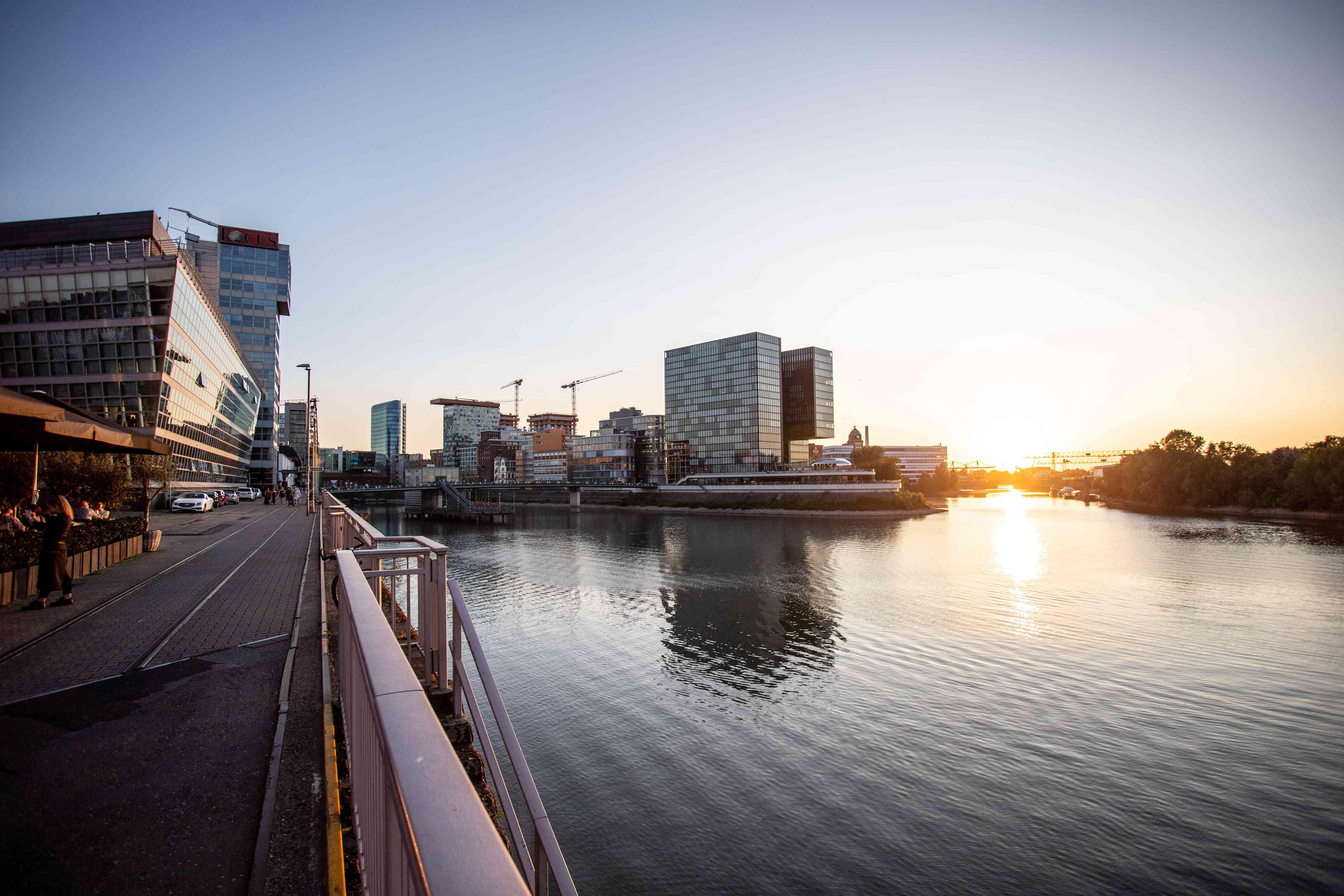 Medien Hafen architecture during sunset