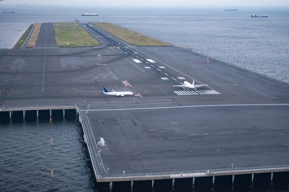 Japan aerial view of landing strips from airplane